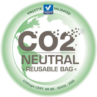 co2 neutral label reusable bag